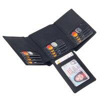 Подлинный кожаный тройной бумажник кошелек черного цвета для Для мужчин Многофункциональный Твердые Кредитная Держатель для карт, кошелек...