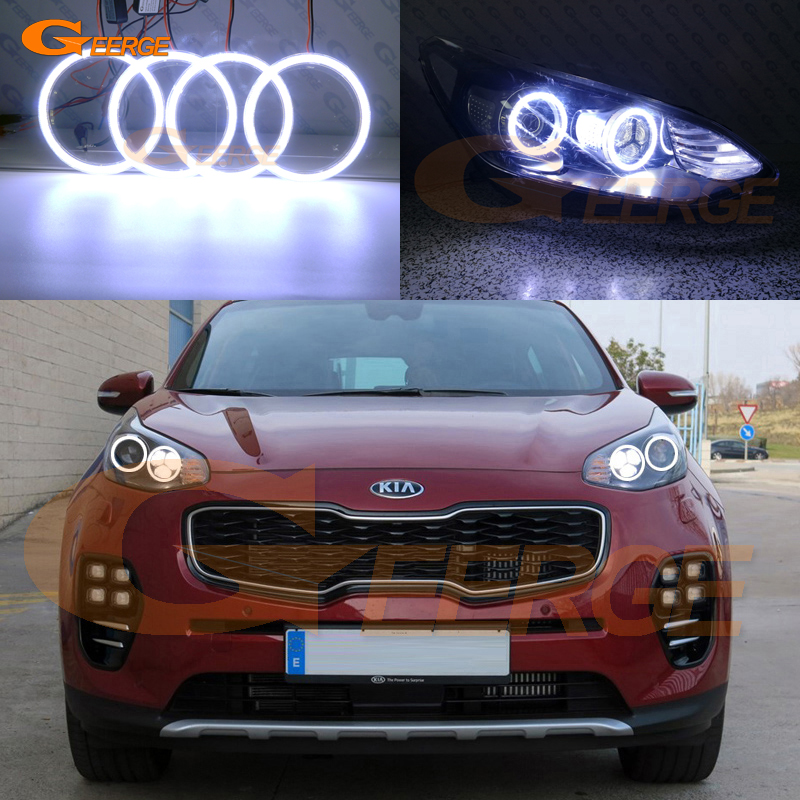 For Kia Sportage KX5 2016 2017 Excellent angel eyes Ultra bright illumination COB led angel eyes