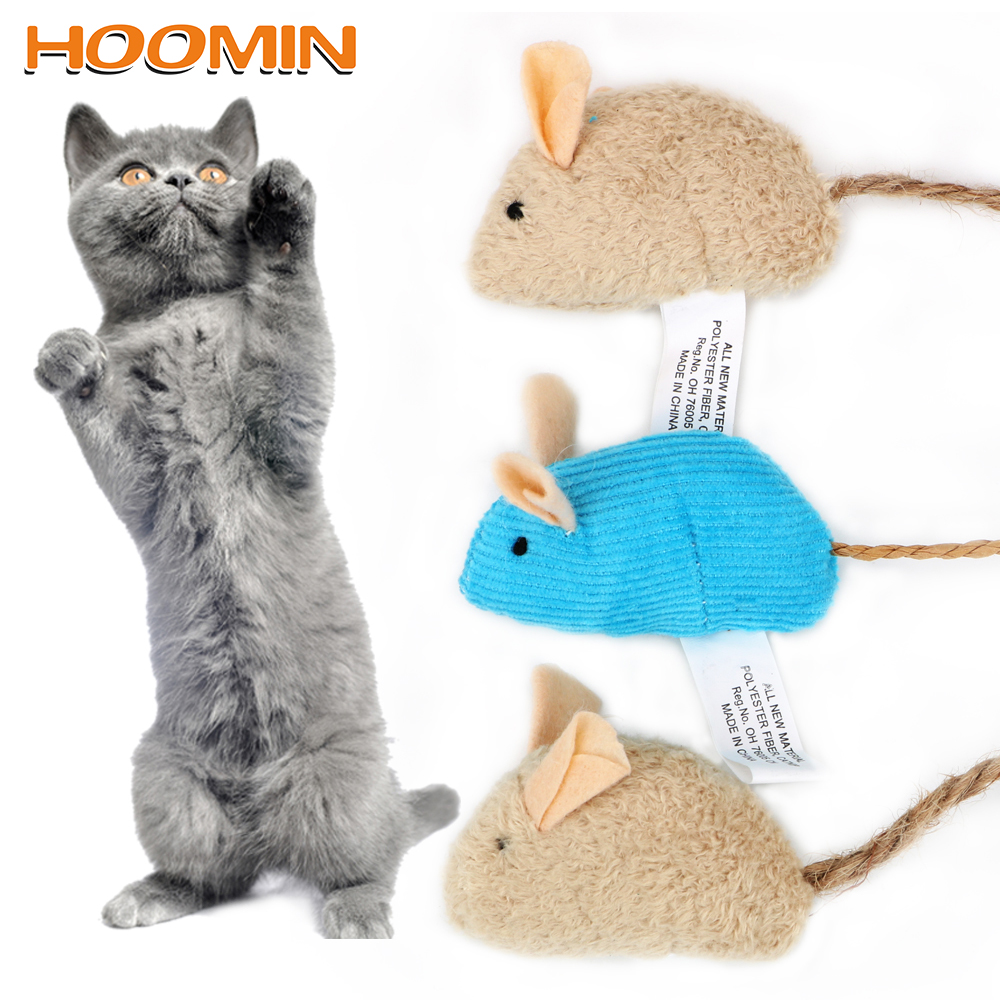 HOOMIN 3 Pieces/set Cat Toys Simulated Plush Mouse with Catnip Funny Pet Training Interactive Chewing Toy Cat Supply