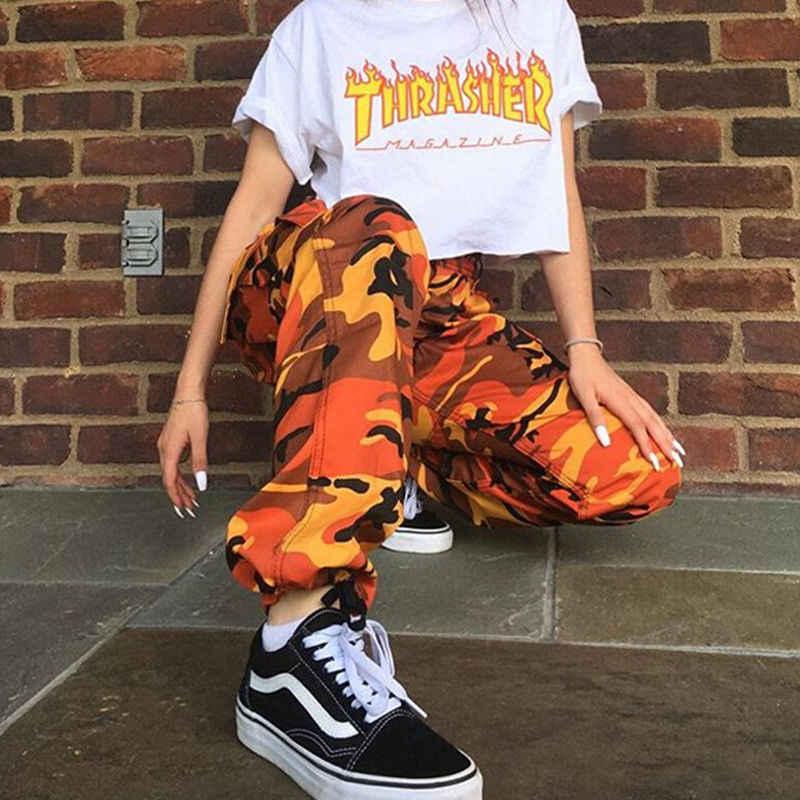Yeni Kadın Camo Kargo Yüksek Bel Hip Hop Pantolon Pantolon Askeri Ordu Savaş Kamuflaj Uzun Pantolon Sıcak Kapriler