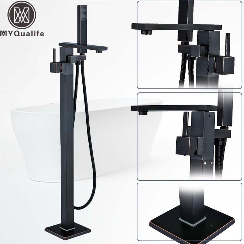 Bronze Black Long Spout Bathtub Faucet Floor Mounted