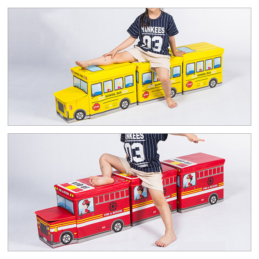 New Safari Bus Kids Folding Storage Bin Toy Box Clothes: Multi Function Bus Shape Storage Box For Toys Kids Clothes