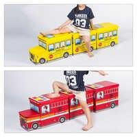 Multi-Function Bus Shape Storage Box For Toys Kids Clothes Folding Cartoon Car Toy Storage Basket Children Storage Bin Dropship