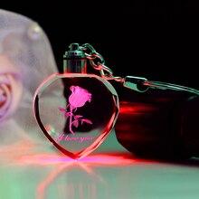Фея Кристалл Роза светодиодный светильник брелок любовь сердце брелок для ключей на День Святого Валентина подарок
