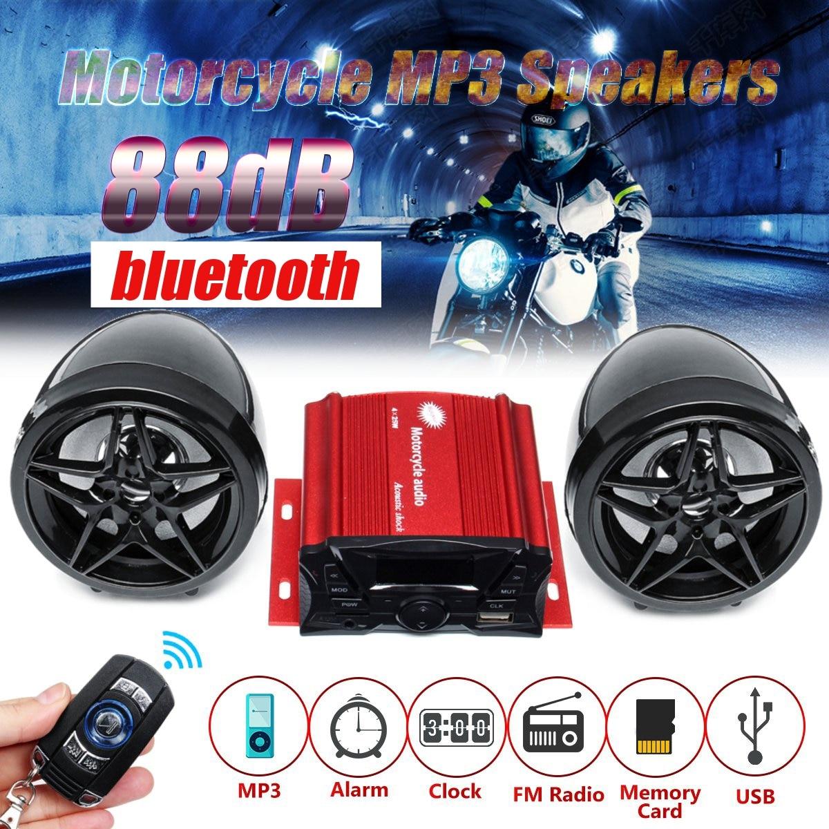 Anti-theft 88dB Motorcycle Audio MP3 Player Wireless Remote Control Alarm Clock FM USB Bluetooth Speaker Music Player