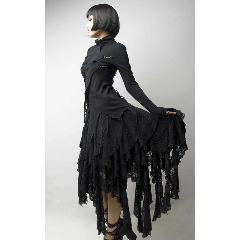 パンクレイブ女性ゴシックロリータスカート黒非対称スチームパンクストリートファッションクールなスカート韓国カットレースのセクシーなスカート  グループ上の レディース衣服 からの スカート の中 1