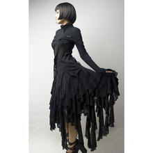 PUNK RAVE Women Gothic Lolita Skirts Black Asymmetry Steampunk Street Fashion Cool Korean Cut Lace Sexy