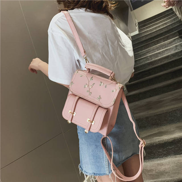 MARFUNY Fashion School Backpack Teenage Girls High Quality Leather Women Shoulder Bag Backpack Floral Embroidery Design Rucksack 1