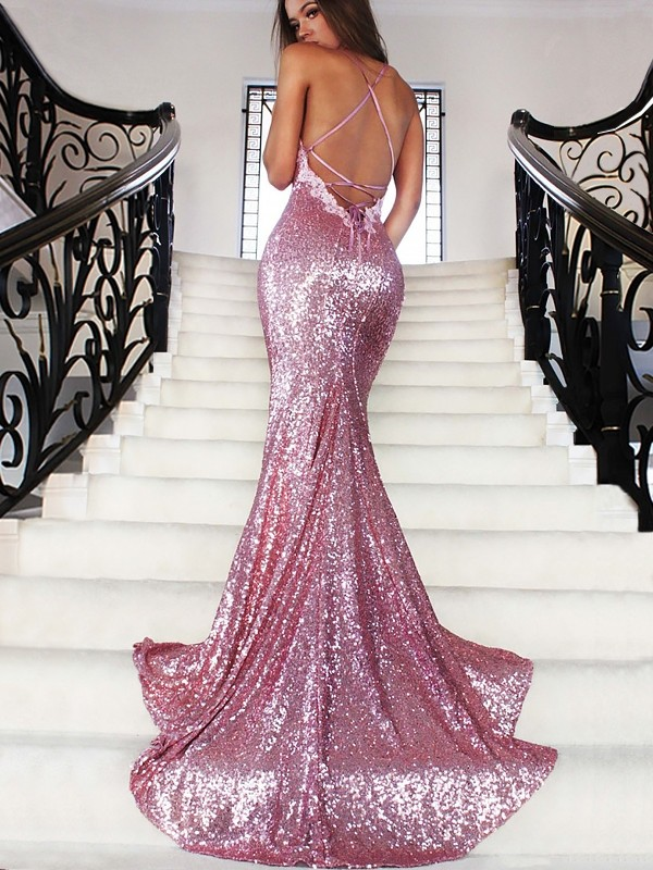 Mermaid Sequins V-neck Sleeveless Spaghetti Straps Evening Sparkle Dresses