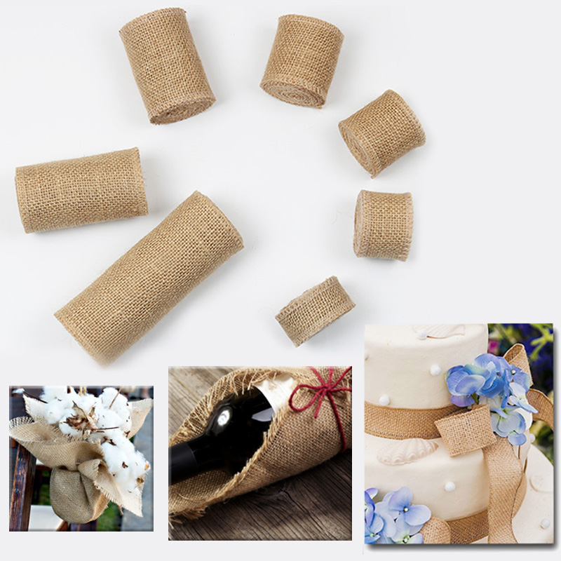 Natural Hemp Ribbon Wedding Party High Quality Crafts Decorative Jute Burlap Ribbon 1M/Roll Gift Wraping DIY Bag Material