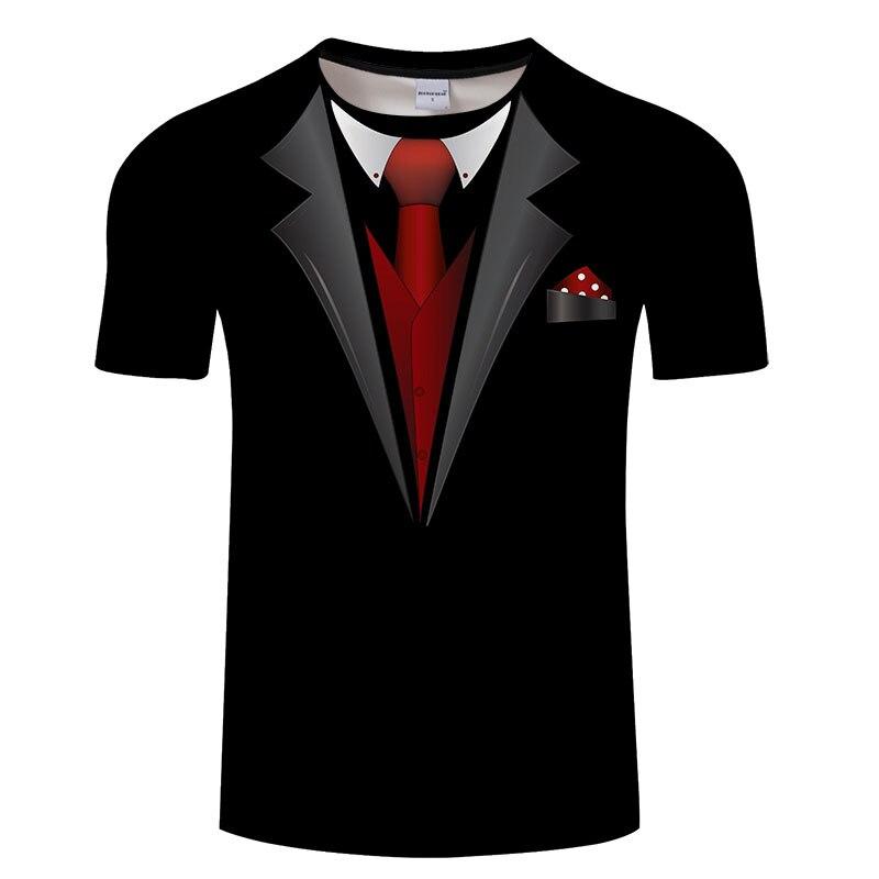 Venda quente 3d t camisa masculina terno falso uniforme impressão camisa de compressão de manga curta pele apertado o-pescoço casual engraçado t camisas topos