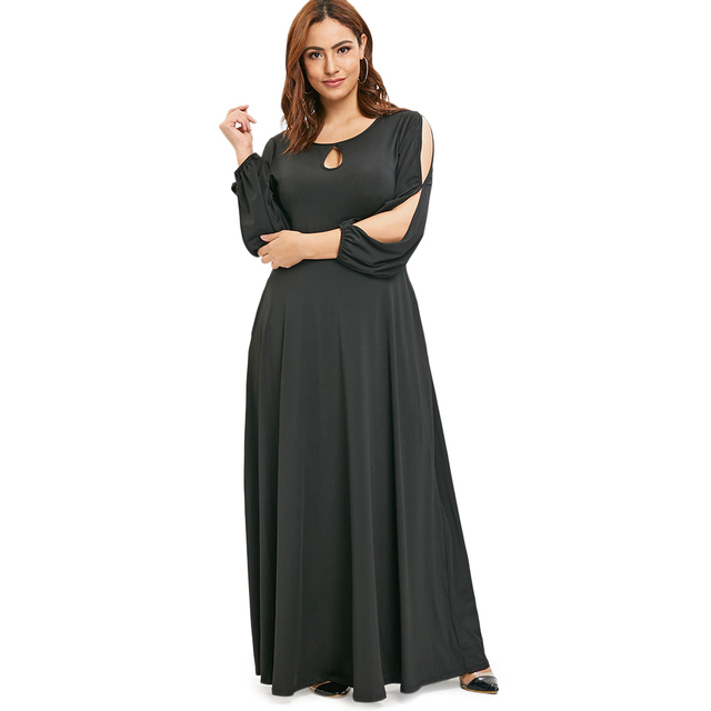 Plus Size Vintage Women Dress Long Fall Winter Maxi Dress Casual Sexy Party Keyhole Neck O-Neck A Line Dresses Elegant Vestidos