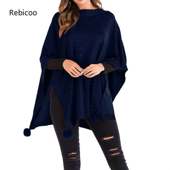 Sexy Knitted Cloak Women Casual Pullover Autumn Winter Streetwear Loose Jumper Sweaters And Pullovers