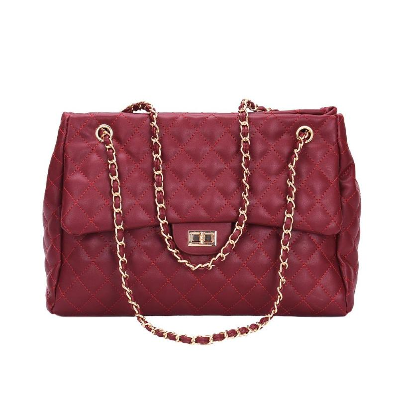 Casual PU Leather Chain Large Shoulder Bag Women Lattice Elegant Euramerican Style Messenger Satchel Handbags