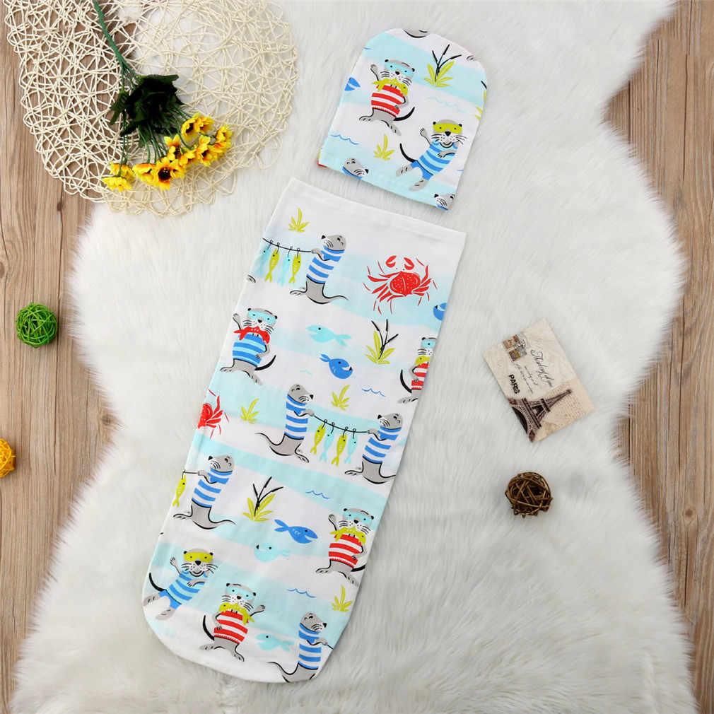 ... New 2Pcs Newborn Baby Animal Cartoon Print Sleeping Bags Blanket Swaddle  Stroller Wrap+Hat Cotton ... 3e79c189d254