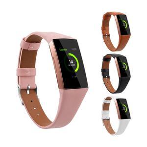 Image 2 - Leather Watch Band Para Fitbit Banda Strap Pulseira de Couro Genuíno Para Mulheres Homens Pequeno & Grande Para Fitbit Carga 3 & Charge 3 SE