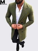Moomphya 2019 New Arrived Blends Woolen coat men Long style windbreaker jacket coat Winter stylish men jacket outwear