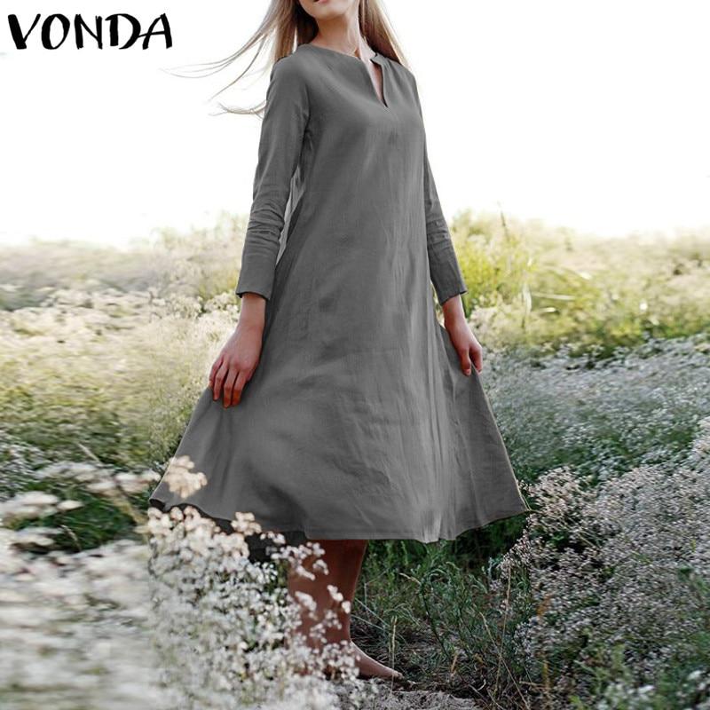VONDA 2019 Women Pregnant Long Shirt Dress Full Sleeve Casual Loose Maternity Mid-calf Dress Belt Solid Retro Vestidos Plus Size