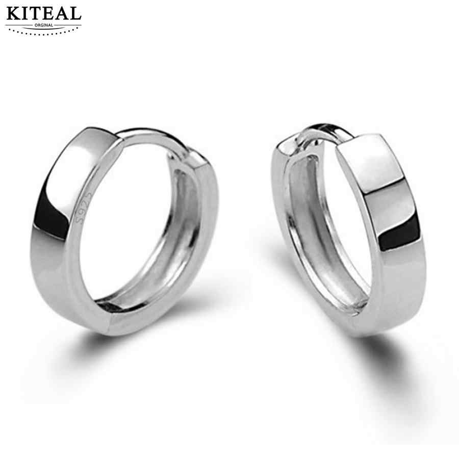 925 jewelry Silver Smooth Surface small hoop Earrings For Women Men brincos oorbellen boucle d'oreille S-E15