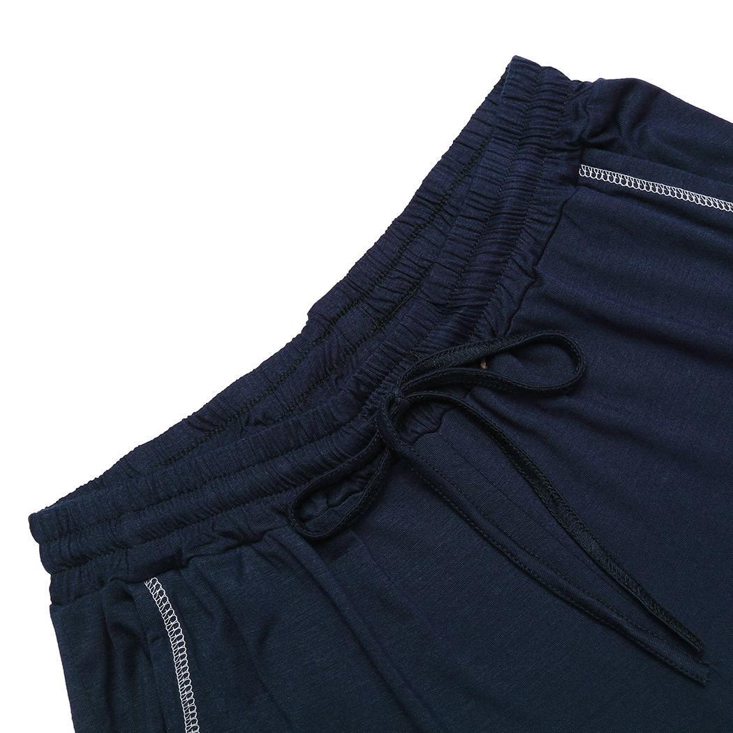 Women fashion summer floral print with drawstring mid calf sleep pants sleepwear elastic waist mid calf