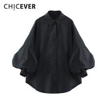 CHICEVER Осенняя Женская рубашка блузка Топ женский фонарь рукав свободный большой размер повседневные женские рубашки блуза модная повседневная одежда