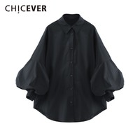 CHICEVER Autumn Women's Shirt Blouse Top Female Lantern Sleeve Loose Big Size Casual Women Shirts Blusa Clothes Fashion Casual