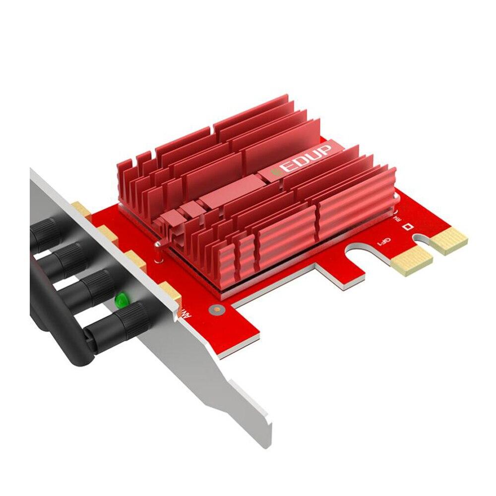 EDUP 2.4/5 Ghz double bande 1900 Mbps PCI Express adaptateur WiFi sans fil 802.11AC carte réseau PCI-E antennes 4 * 5dBi pour Win 7/8. 1/10 - 2