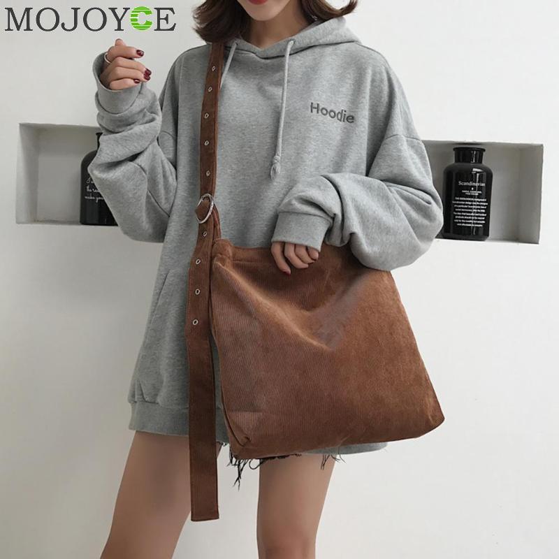 Women's Corduroy Canvas Tote Adjustable Strap Foldable Shopping Bag Ladies' Shoulder Bag School Books Bag Eco Friendly Handbag