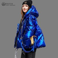 2019 Winter Coat Women Clothes Bright Surface Quilted Jacket Thick Cotton Casual Plus Size Parka A line Warm Outwear Okd654