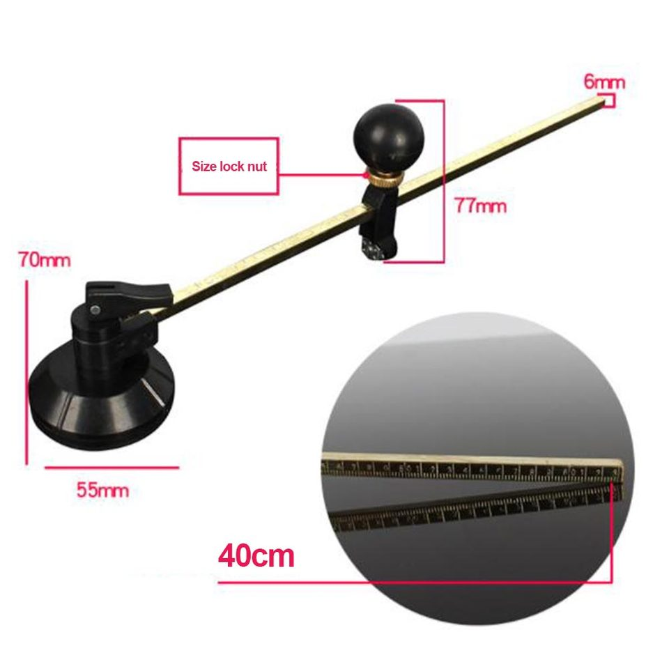 6-40cm Cutting Dia Range Wheels Compasses Glass Circle Cutter With Suction Cup