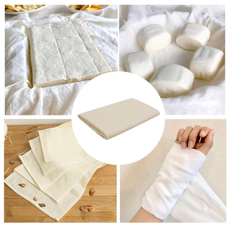 Cheese Cloth 40s Natural Ultra Fine Cotton Filter Gauze Cheese Cloth Kitchen Cleaning Filter Car Dusting Perfume Bag Wine Making image