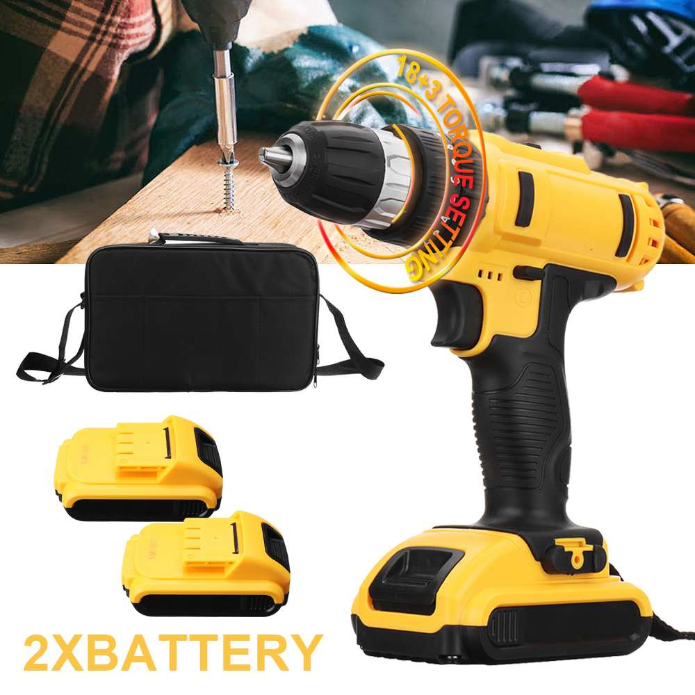 18+3 Meatl Cordless Drill Double DC Lithium-Ion Battery 18V Electric Screwdriver Cordless Electric Drill Power Tools