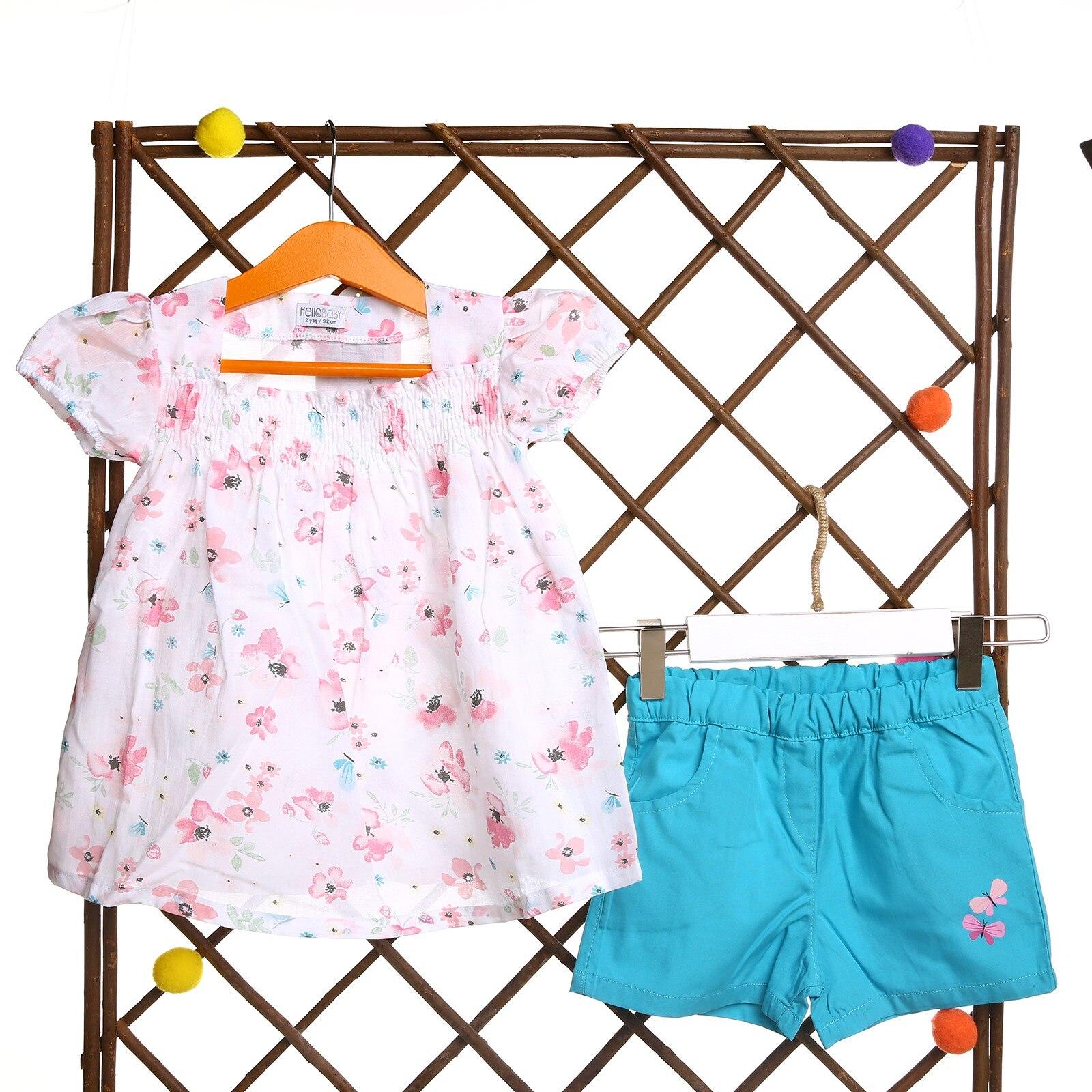 HelloBaby Flowered Baby Girl Shirt Short Set