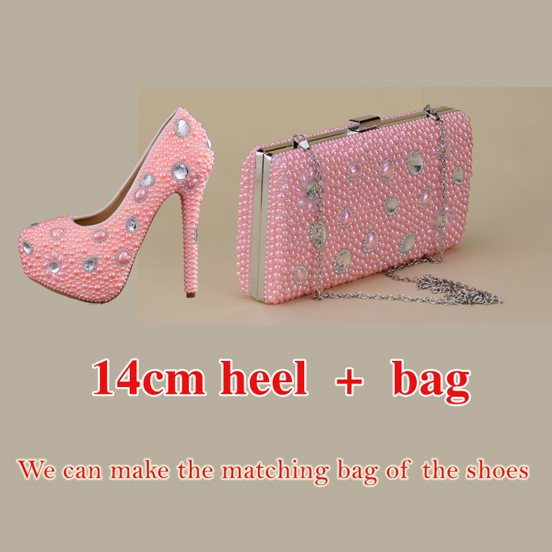 Shoes Pink Color Pearls New Fashion Rhinestone Pumps Shoes Women Sweet Luxury Platform Wedges Shoes Wedding Heel 14cm High HeelsShoes Pink Color Pearls New Fashion Rhinestone Pumps Shoes Women Sweet Luxury Platform Wedges Shoes Wedding Heel 14cm High Heels