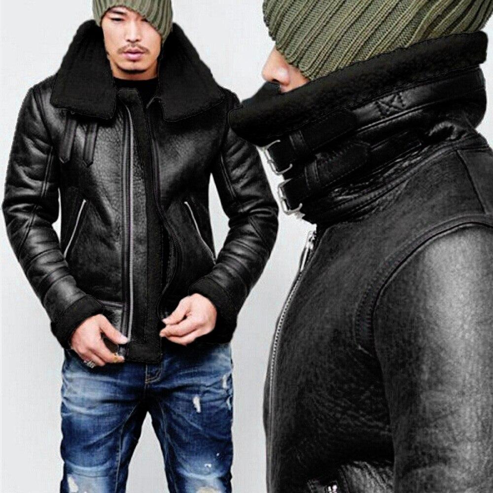 Vêtement Vestes Streetwear Hop Doublure Noir À D'extérieur Glissière Chaud Hip En Peluche Revers Cuir Hommes marron 2019 Veste Rebicoo Homme Manteau Ours 8wnm0N