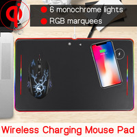 10W QI Wireless Charging LED RGB Gaming Mouse Pad Large Mousepad Gamer Anti slip Mouse Mice Mat Desk Pad For Computer PC