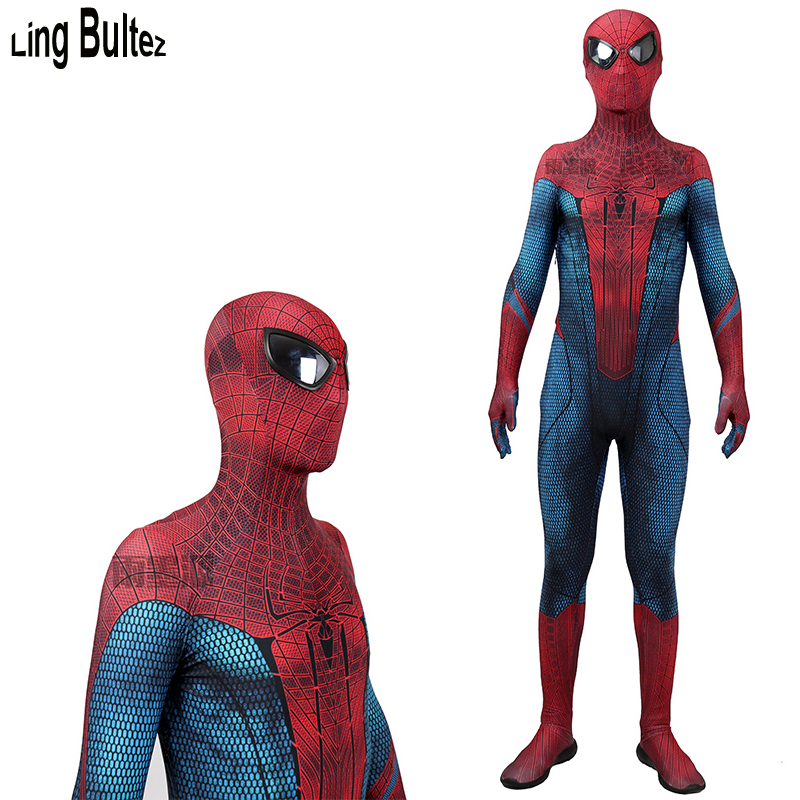 Ling Bultez High Quality Muscle Shade Amazing Spider Man Cosplay Costume With Mirror Lens For Halloween Amazing Spiderman 1 Suit
