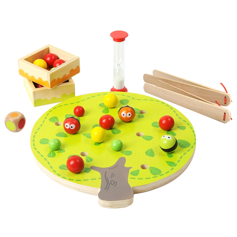 Children S Wooden Toys Early Educational Toys Clip Beads Game Cartoon Bee Clip Beads Montessori Learning