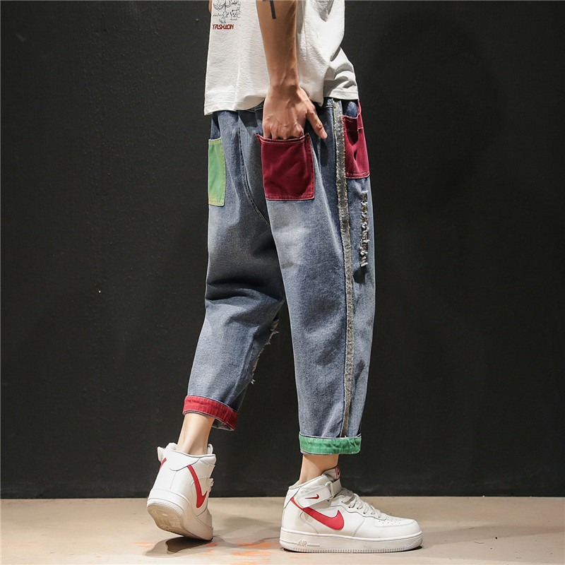 2019 Summer Japanese Patch Striped Side Worn Out Jeans Trousers Baggy Homme Men Haren Straight Loose Pants Male Plus Size M 5XL