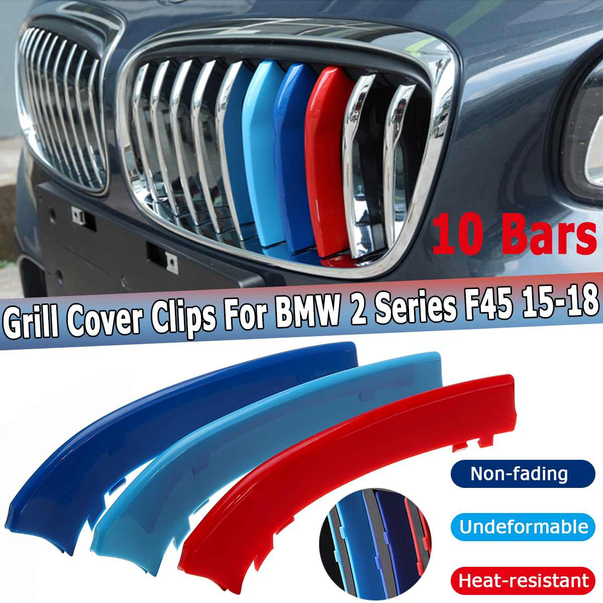 BMW F20 F21 11 Bar 2015-2016 PVC Front Grille Stripe Decal Covers