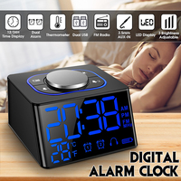 FM Radio Alarm Clock Thermometer Desk Clocks LED Digital Clock with 2 USB Charging Port Mini LED Snooze Table Clock