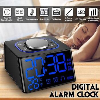 f60b82f6 Fm-радио будильник с термометром настольные часы светодиодный цифровые часы  с 2 usb-портом для зарядки мини светодиодный Повтор Настольные ча.