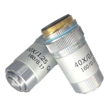 4X 10X 20X 40X 60X 100X Achromatische Objektiv 195 Mm Konjugat Abstand HD DIN Für Biologische Mikroskop 160/0. 17