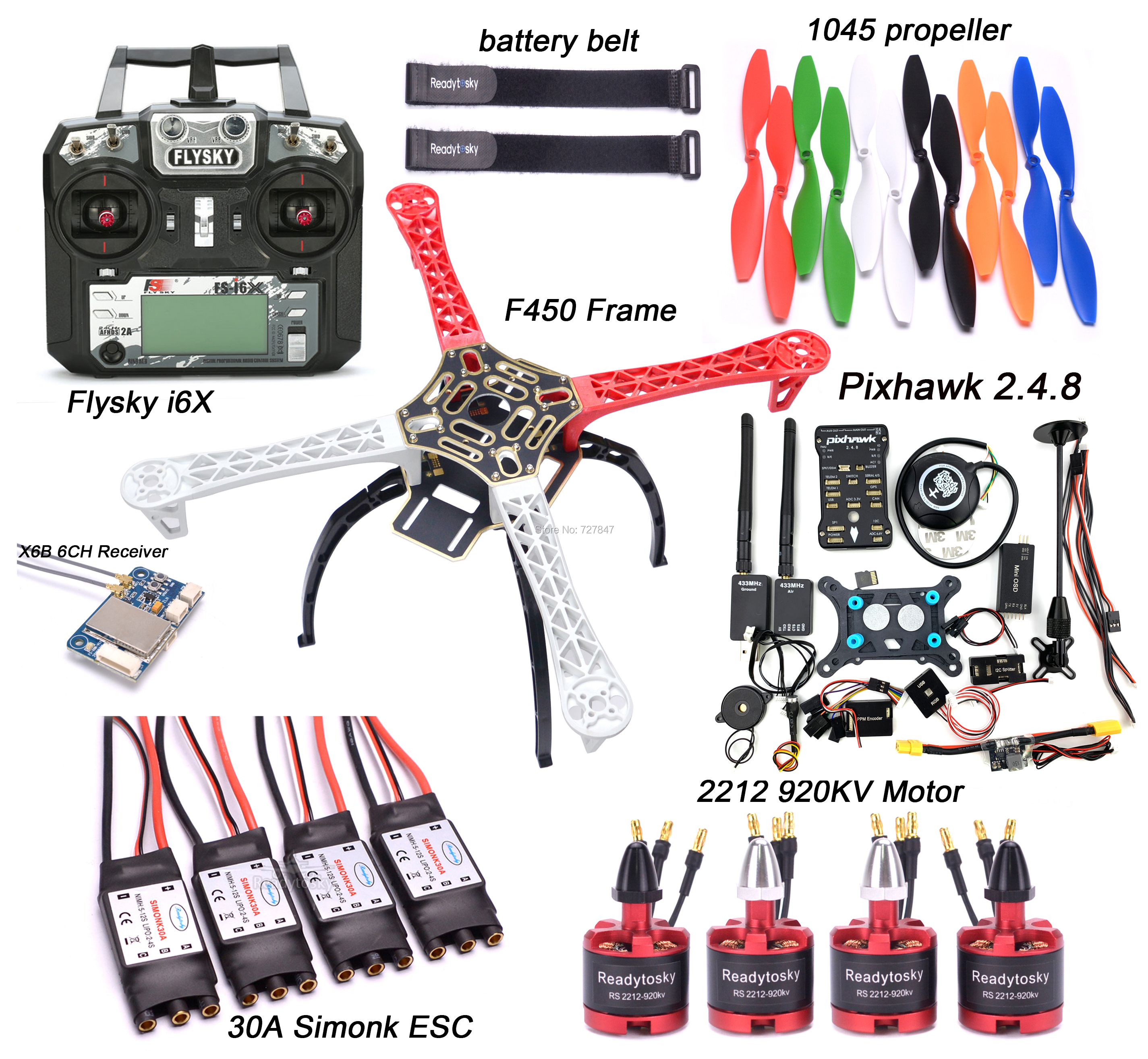 F450 450 milímetros Kit Quadro Quadcopter M8N 2.4.8 PIXHAWK Flight control GPS 30A Simonk Brushless Motor ESC 2212 920KV Flysky i6X + X6B