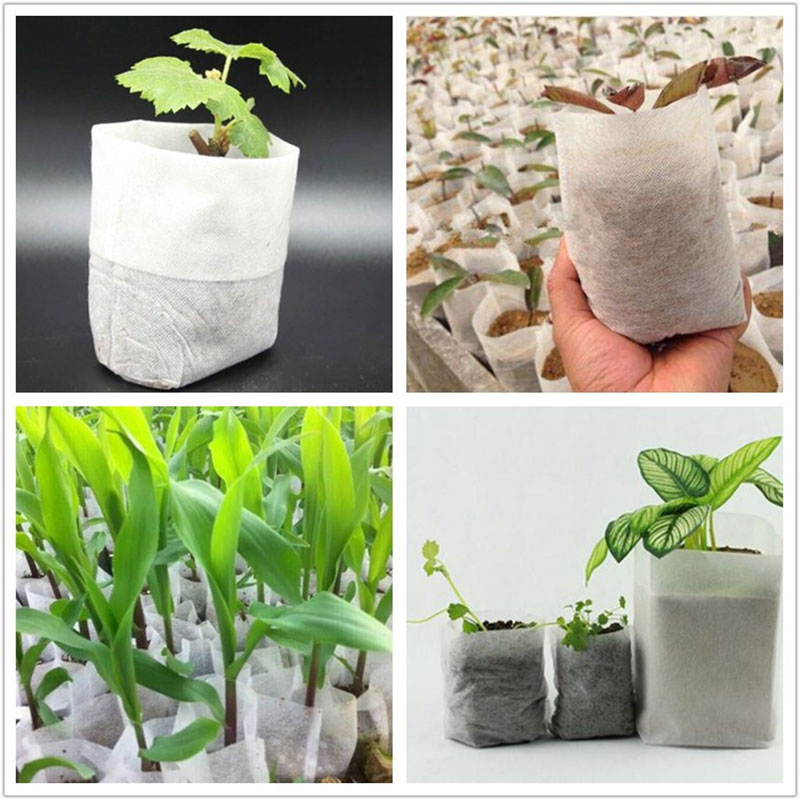 100pcs/Set Biodegradable Non-Woven Nursery Bags Plant Grow Bags Fabric Seedling Pots Eco-Friendly Aeration Planting Bags