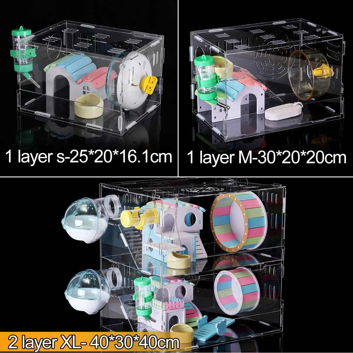 S/M/XL Single/ Double Layer Hamster Cage Funny Guinea Pig Cage Small Pets Mice House Chinchilla Hedgehog Hamster Acrylic House