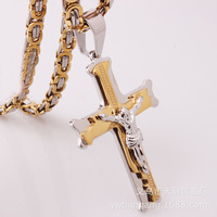 European And American Hot Spot Men's Titanium Steel Stainless Steel between Gold Cross Flat Section Chain Pendant Necklace High