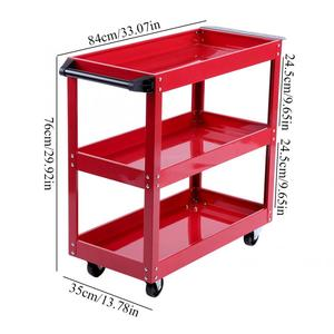 Image 2 - 3 Tier Storage Shelves Tools Cart with 360 Degree Free Rotation Wheels for Workshop Garage Use