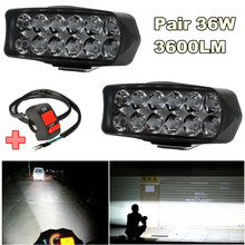 1 Pair 36W 3600LM LED Work Light Bar Fog Spotlight DRL Headlight Driving Lamp Car Truck Offroad 12-85V with Switch