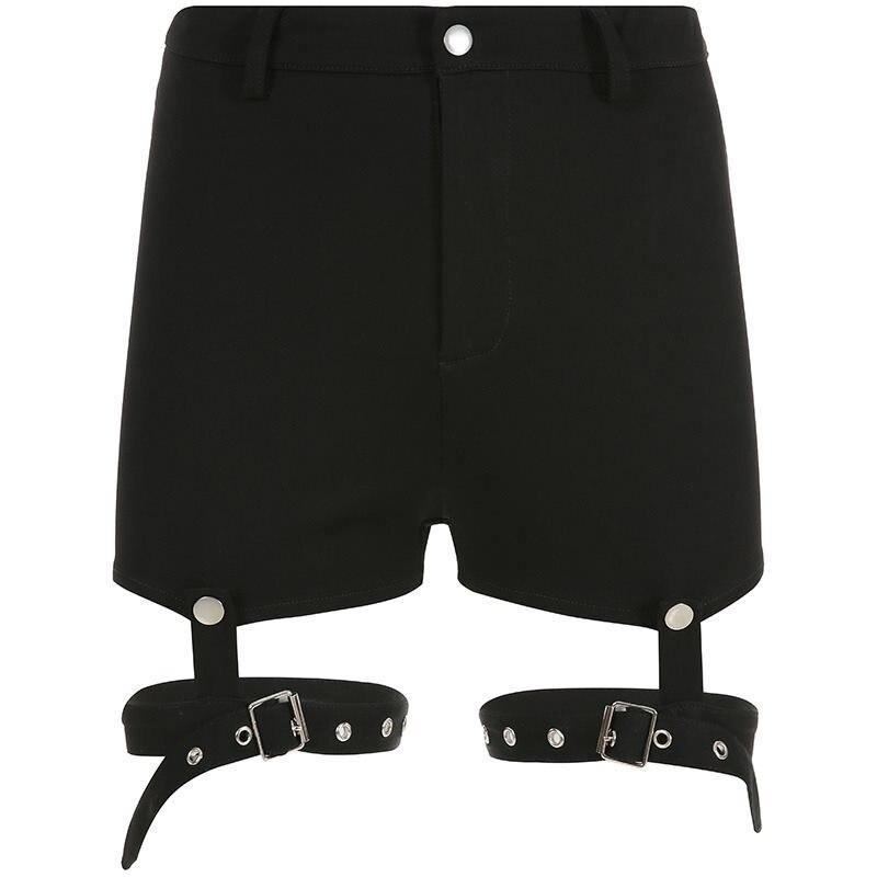 Women Shorts Casual Black Gothic Cool Punk Sexy Club Office Lady Skinny Solid Hollow Summer 2019 Female Fashion Goth Shorts